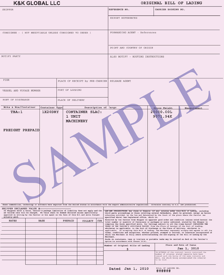 Bill Of Lading Release Bill of Lading - Connaissement Integral
