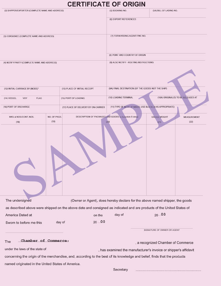 Certificate of origin certifying the origin shipping for Certificate of origin template