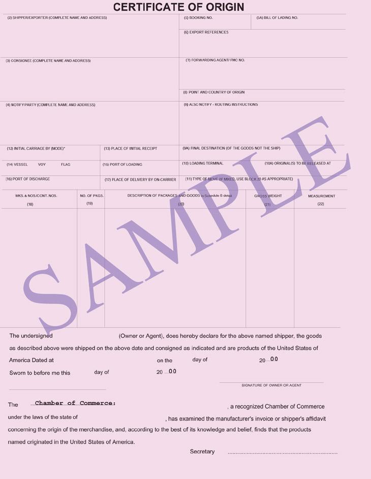 certificate of origin certifying the origin shipping document