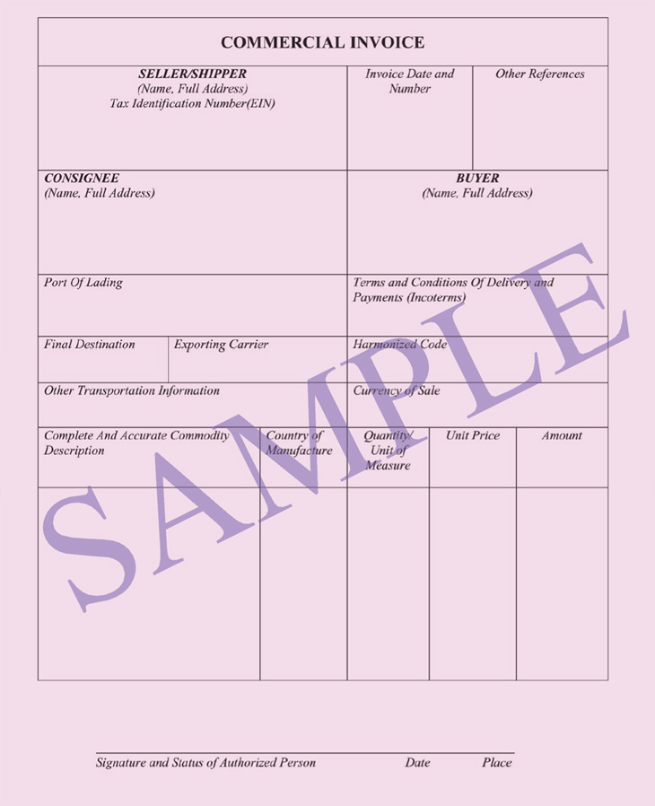 Commercial Invoice Documents Ocean Freight - Transportation invoice template