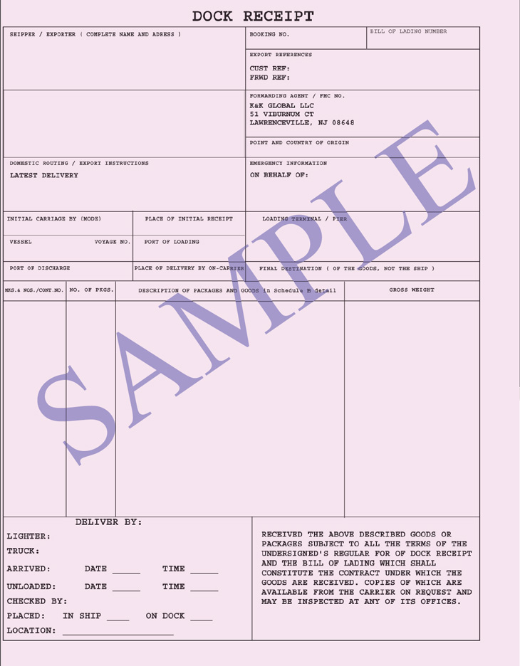 cargo receipt template dock receipt ocean freight document